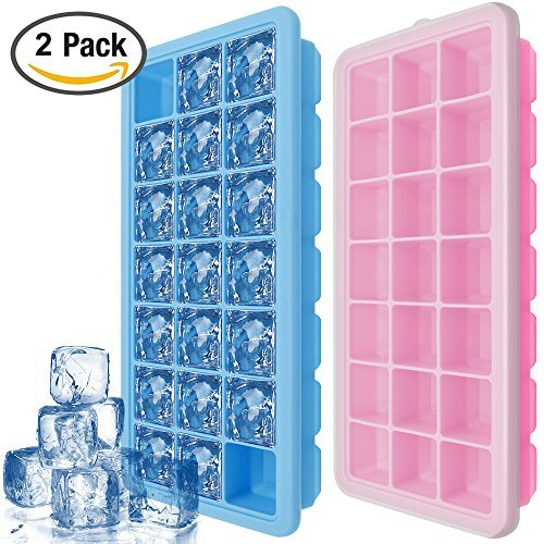 Eiswürfelform Mit Deckel, IHUIXINHE 21-fach Eiswürfel, 2er Pack 100 % BPA frei Silikon Ice Tray Ice Cube, BPA frei Eiswürfelbox