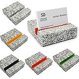 Visitenkarten-Halter Visitenkarten-Ständer Visitenkarten-Auftseller aus einem massiven Granitblock 700g schwer, DESIGN-WELTNEUHEIT für eine edle Präsentation Ihrer Visitenkarten (ohne Filzeinlage)