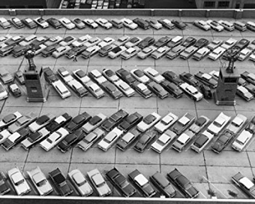 Aerial view of cars parked in a parking lot Port Authority Bus Terminal Manhattan New York City New York State USA Poster Drucken (45,72 x 60,96 cm) - New York Bus Terminal
