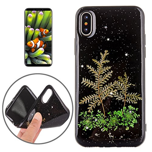 Mobiltelefonhülle - Für iPhone X Schwarz Epoxy Tropf Pressed Echte Getrocknete Blume Weiche Schutzhülle ( SKU : Ip8g0987k ) Ip8g0987h