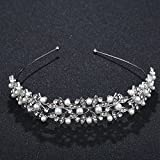 SODIAL Diadema de la corona de cristal de la vendimia tiaras nupciales accesorios de la boda del partido deja borde de la joyeria para el pelo