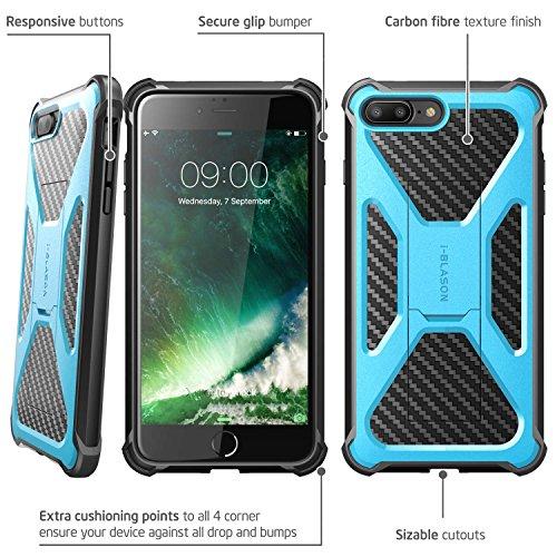 iPhone 7 Plus Hülle, iPhone 8 Plus Hülle, i-Blason Transformer Outdoor Schutzhülle Stoßfest Case Cover mit Ständer und Gürtelclip für Apple iPhone 7 Plus / iPhone 8 Plus, Schwarz blau