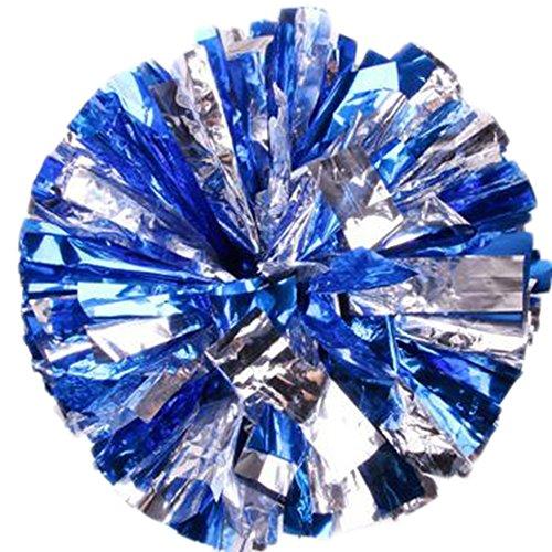 Milopon Cheerleading Pom Poms Cheerleader Spiel Pom Plastikring Junggesellinnenabschied Dressing (Blau silber) - Blau-dressing