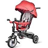 besrey 7 en 1 Tricycle Poussette Vélo Evolutif Multifonctionnel pour Enfants avec Roues Silencieuses et la Tige-Poussoir Directionnelle - 6 Mois à 6 Ans - Rouge