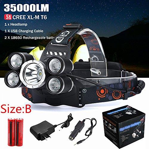 Linterna Frontal Cabeza LED Baterías35000LM 5x CREE