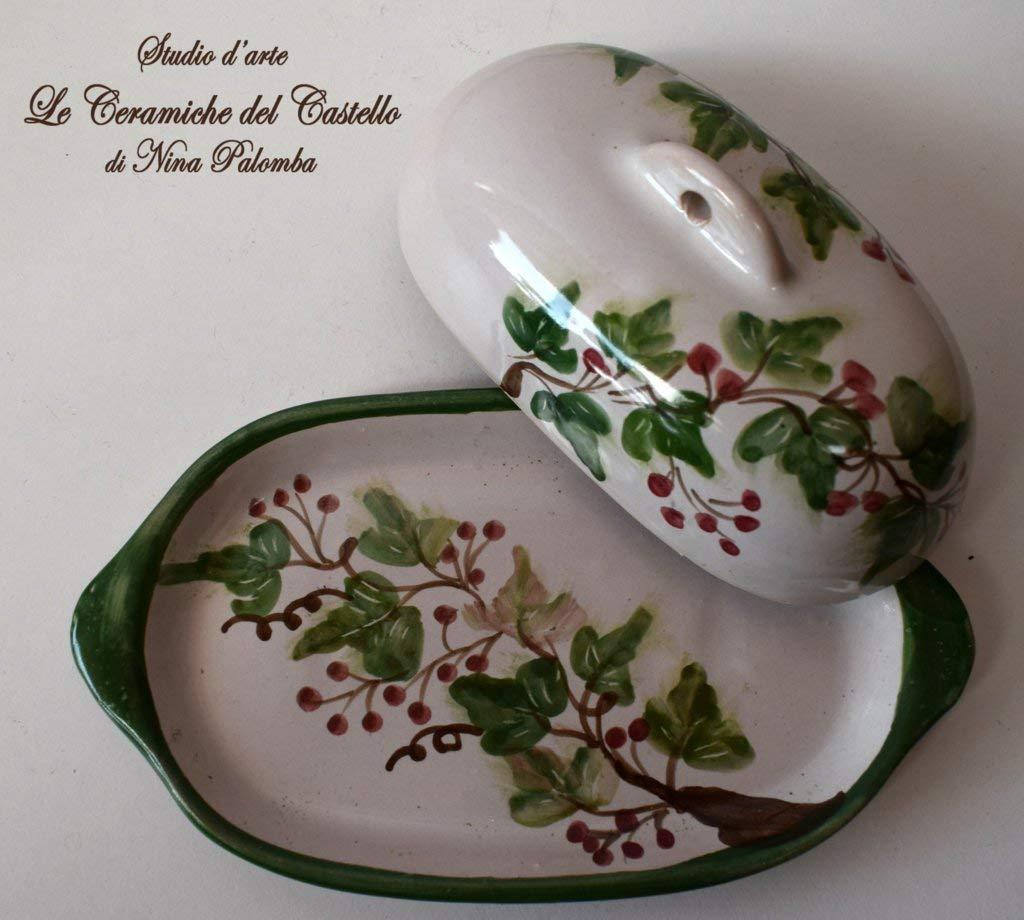 Burrier Dish Kitchen Ivy Line Decorated Unique Manufact Handmade Le Ceramiche del Castello Made in Italy Dimensions 22 x 9 centimeters