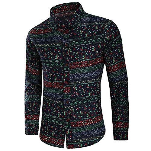 Herren Pullover,TWBB Herbst Drucken Vintage CardiganShirt Oberteile Schlank Sweatshirt Lange Ärmel Shirt
