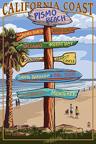 Pismo Beach, Kalifornien-Destination Schild, Papier, multi, 12 x 18 Art Print