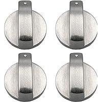 xutong - Lot de 4 boutons en métal argenté pour cuisinière à gaz, four ou plaques de cuisson - diamètre trou de fixation…