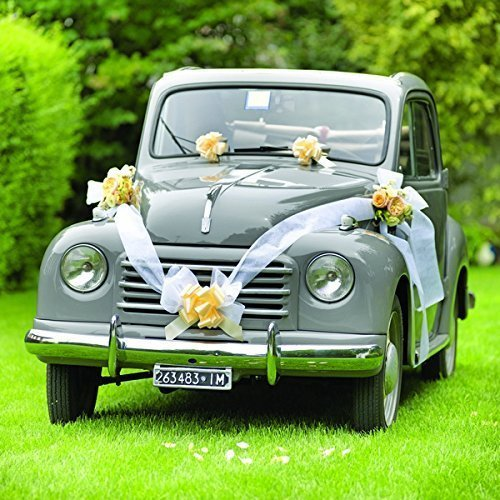 Kit decoración coche novios lazos lilas cinta blanca