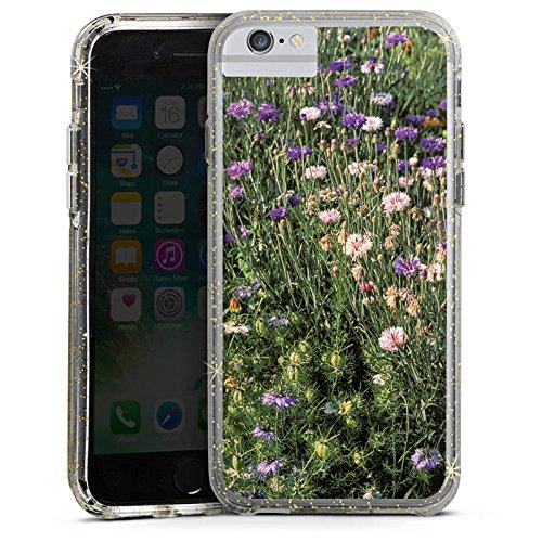 Apple iPhone X Bumper Hülle Bumper Case Glitzer Hülle Blumenwiese Wildblumen Blumenfeld Bumper Case Glitzer gold