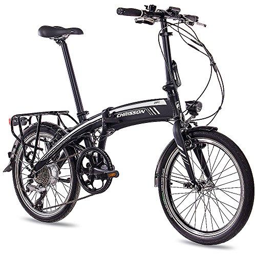 "CHRISSON 20"" Zoll E-Bike Faltrad Klapprad Cityrad EF1 2018 mit 8G ACERA & BAFANG 8,7Ah Samsung Zellen schwarz matt"