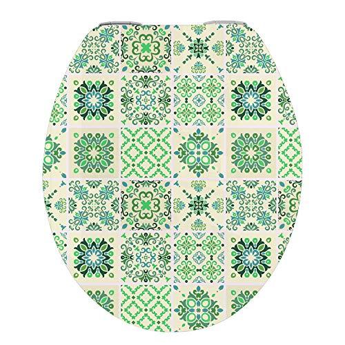 WC Deckel mit Absenkautomatik, stabile Qualität - einfache Montage WC Deckel Klobrille, MDF HOLZ SOFT CLOSE, Talavera Tile