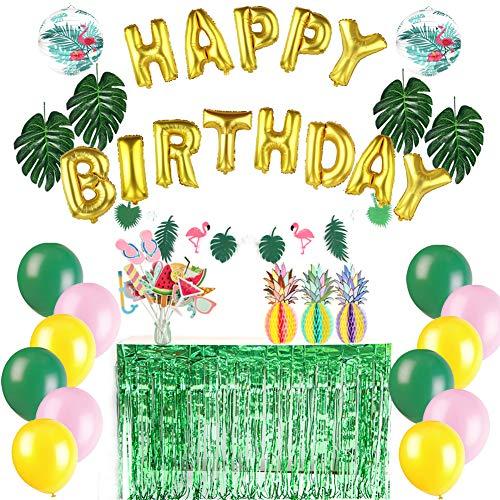 Easy Joy Hawaiian Deko Aloha Hawaii Party Grüne Tischröcke Tropische Blätter Sommer Party Supplies (Happy Birthday)