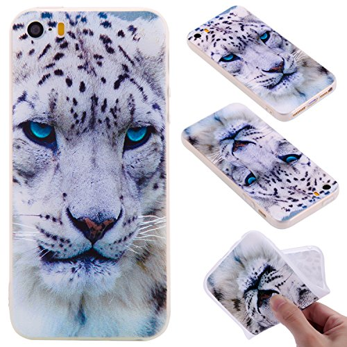 Coque iPhone 5S / 5 / SE , Envelop Coque en Silicone Gel TPU Etui Housse iPhone 5S Souple Flexible Ultra Mince Housse de Protection pour Apple iPhone 5 / 5S / SE (4.0 pouces) Case Cover Soft Slim Minc Léopard blanc