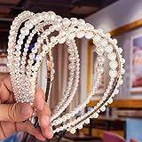 Fascia per Capelli perlati, Comius Sharp 6 pezzi Cerchietto per capelli con perle sintetiche, per capelli con perle finte bia