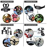 Leknes Accessories for GoPro Hero 6 Hero5 Gopro 4 3 2 1 GoPro Hero Session, Action Camera Mounts for SJ4000 SJ5000 SJ6000 AKASO EK7000 Apeman A70 APEMAN A80 Xiaomi Yi  WiMiUS Sony Sports DV, 54-in-1 Gopro Hero Accessory Kit with Case