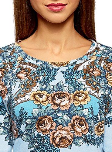 oodji Ultra Damen Sweatshirt mit Druck Blau (7043F)