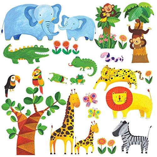 dschungel wandtattoo Decowall DM-1409 Tropischer Dschungel Tiere Wandtattoo Wandsticker Wandaufkleber Wanddeko für Wohnzimmer Schlafzimmer Kinderzimmer
