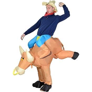Costume Globatek con toro e cavalcatore, popa portatile e cappello compresi Carnevalee