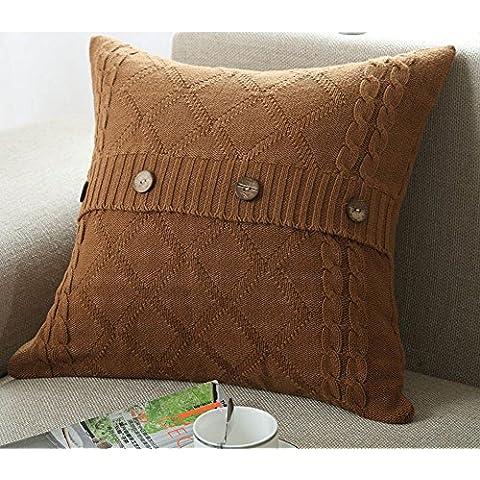 Più colore stile semplice divano cuscino/Tinta unita in cotone lavorato a maglia guanciale/semplice pulsante stile-C 45x45cm(18x18inch)VersionB