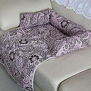 Hioowiu Sitzbezug Matte mit Kopfstütze für Hundebetten Sofas Couch Decke Blumendruck Multifunktions Hundematten Kaffee rosa_XL 145x85cm_02