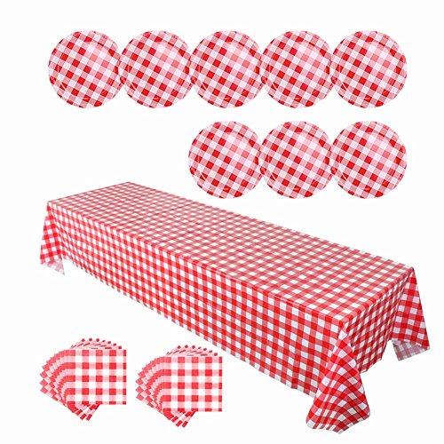 nweggeschirr Tischdecke Plastic 8 Pappteller 20 Servietten Papier Unikat Für Farm Geburtstag Gastronomie Haushalt Feste Oder Picknick Party Deko Rot Weiß Kariert ()