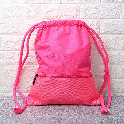 oumeiou Turnbeutel, Tasche mit Kordelzug, Basketball Rucksack, wasserdicht, mit großer Reißverschlusstasche für Camping, Yoga, Wandern, Radfahren Für Männer und Frauen