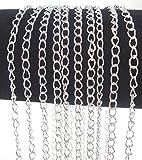 Gliederkette Link Kette Metallkette Schmuckkette 5mm Silber Meterware zur Schmuckherstellung von Halsketten Armband DIY Basteln K2