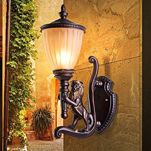 AMOS Style européen rétro lampe de jardin extérieur imperméable lampe de jardin lion style porte entrée balcon allée mur extérieur lampe ( Couleur : À gauche-25*57cm )