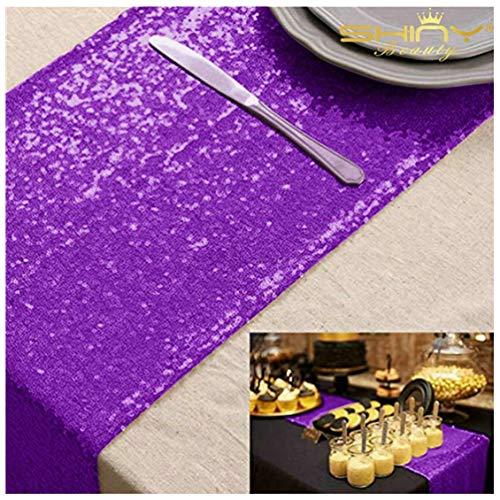 ShinyBeauty Lila Tischdecke 33x275cm Lila Pailletten Tischläufer Bridal Shower Dekorationen,13x108-Inch (Lila Bridal Shower Dekorationen)
