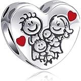 """LaMenars """"Love Mom Family Tree Infinity Heart"""" ciondoli per braccialetti, perline multicolori in argento sterling 925, adatti"""