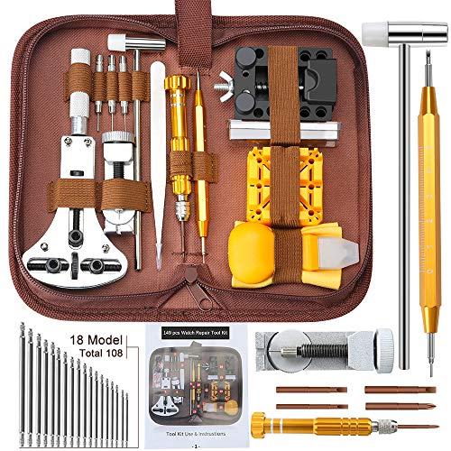 E·Durable 149pcs Réparation Montre Outil d'horloge de réparation Professionnels Remplacement des Pile Outil Removaler Outil Barres de Ressort Épingles Kit d'outils horloger