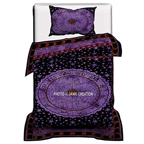 Astrologie Mandala Bettbezug Baumwolle Handmade Twin Size Single Bettwäsche-Set Schmusetuch, Decke, Steppdecke, Doona Bezug mit einer Kopfkissen, Mandala Schlafzimmer Decor, Decke, Bettbezug, Doona, (Twin-size-schlafzimmer-set Schlafzimmer)