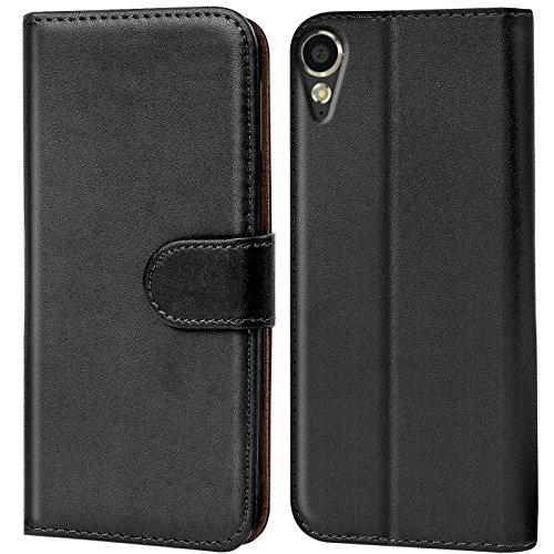 Verco Desire 10 Lifestyle Hülle, Handyhülle für HTC Desire 10 Lifestyle Tasche PU Leder Flip Case Brieftasche - Schwarz