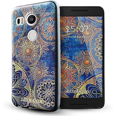 Nexus 5x Funda,Lizimandu 3D Patrón Protectiva Carcasa de Silicona Gel TPU estrecha Case Cover Para nexus 5x(Flor Azul/Blue