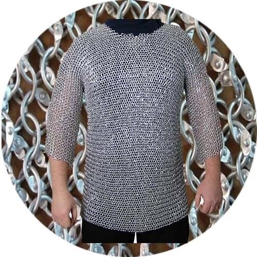 Rivet Washer (NASIR ALI Flat Rivet with Flat Washer Chainmail XL Size Half Sleeve Hubergion Shirt Zinc)