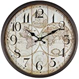 Reloj de pared de metal lacado con esfera de cristal y diseño vintage de Perla PD DesignDiámetro: 30cm., metal, mapamundi