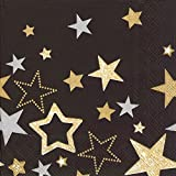 SPARKLING STARS black gold Luncheon Paper Table Napkins 20 in a pack 33cm square