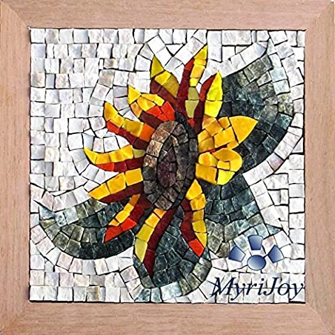 Mosaic kit DIY Sunflower 23x23cm Italian marble & Murano glass