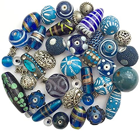 Mixed Pack of Handmade Blue Jewellery Making Beads