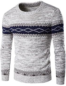 O-cuello suéteres tejidos de manga larga de hombres Sweater Mens engrosamiento mantenga caliente está tocando...