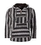 Kunst und Magie Nepal Baja Jerga Sweatshirt Poncho mit Fleecefutter Kapuze, Größe:3XL, Farbe:Schwarz / Grau