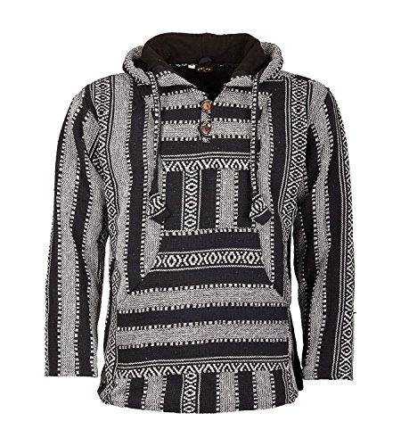 KUNST UND MAGIE Nepal Baja Jerga Sweatshirt Poncho mit Fleecefutter Kapuze, Größe:L, Farbe:Schwarz/Grau -