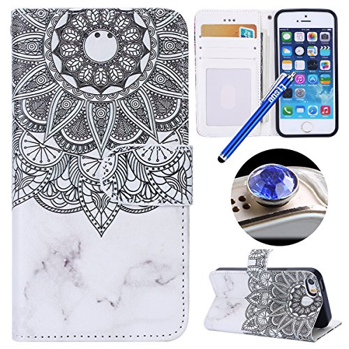 Etsue Case Cover for iPhone 7/8,Copertura in Pelle/Leather Cover caso,Hand Embossed Varnish Leather Case,[Chiusura magnetica][assorbimento dello shock][anti-graffio],flip cover case for iPhone 7/8-cra Modello Mandala