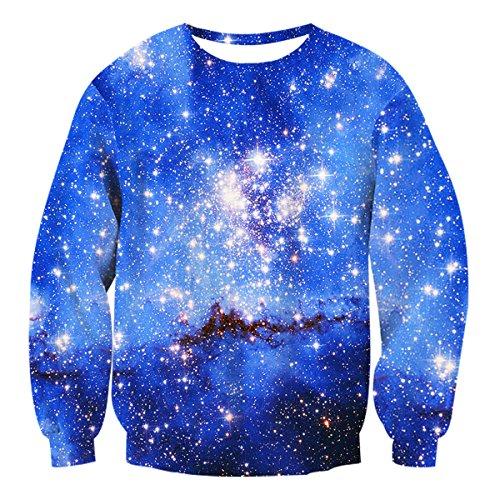 Uideazone Unsiex Pullover Sweatshirt Sweatshirt mit Reißverschluss und Kapuze Galaxy