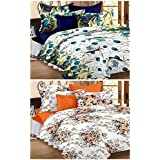 Story@Home Premium Magic Combo 152 TC 2 Pieces Bedsheets with 4 Pillow Covers - Brown, Blue