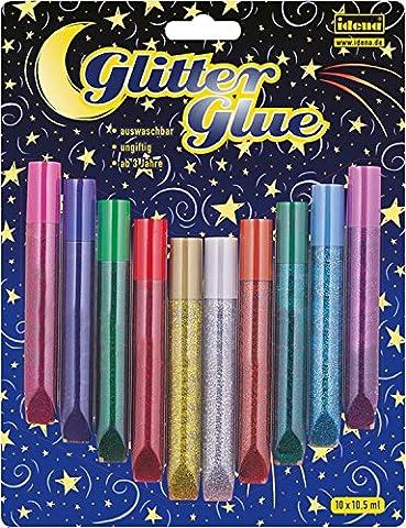 Idena 634145 - Glitter Glue 10 Farben a 10.5 ml - 10 Glue