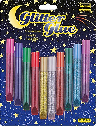 Idena 634145 - Glitter Glue 10 Farben a 10,5 ml Silber-glitzer-papier-karton