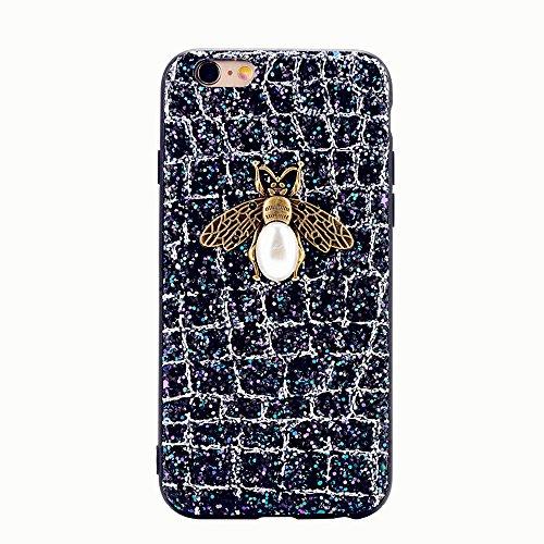 iPhone x Handyhülle,Dewanxin 2018 Creative Design 3D Bee Glitzern TPU + PC Umweltschutz Telefon-Kasten Protective Case Cover(iPhone x Handyhülle, Silber) -